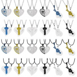 Heart & key - stainless steel necklace for couples 2 pieces