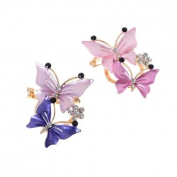 Pink Blue Butterfly Brooches