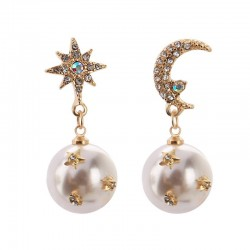 Star Moon Design Earrings - Drop Style