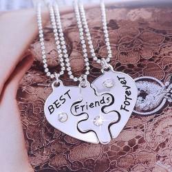 3Pcs Best Friends Forever Necklace Set - Heart