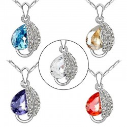 Leaf & crystal pendant - stainless steel necklace