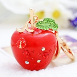 Crystal apple keychain - green - red