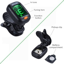 Guitar tuner - clip on - rotatable - violin - bass