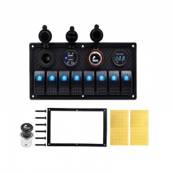 8-gang rocker switch panel - 12 - 24V - USB - LED - cigarette lighter socket - waterproof