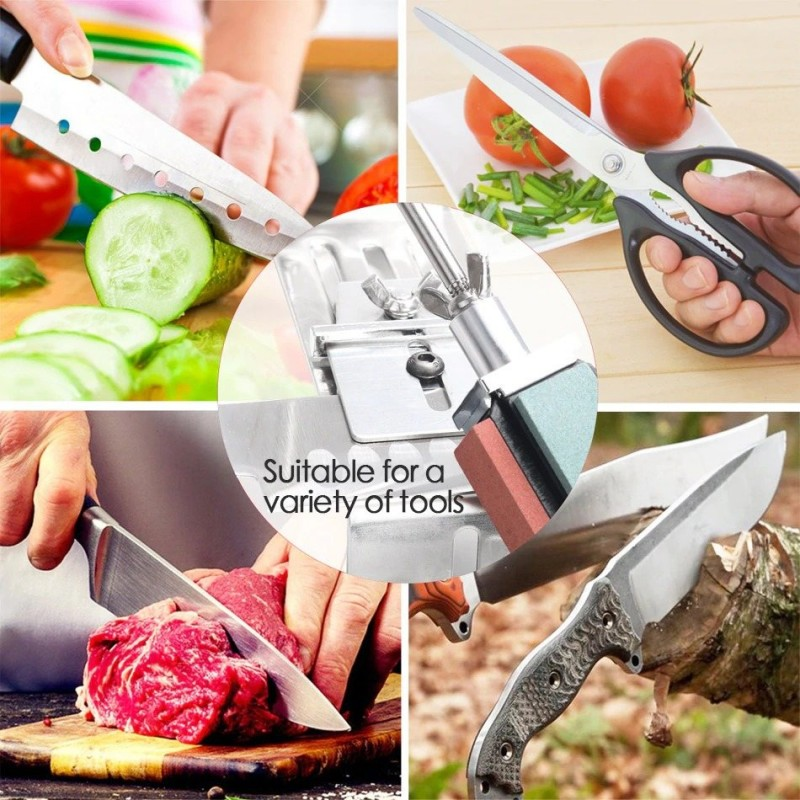Professional kitchen knife sharpener - fixed angle tool - with 4 whetstone