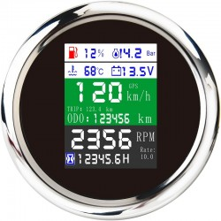 85mm - 6 in 1 - multi-functional - digital gauge - gps - speedometer - 9-32V - fuel level - water temp - alarm