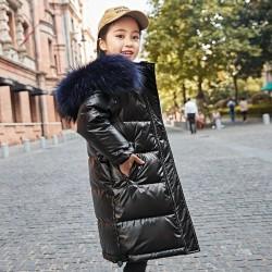 Children -30 Degree Clothes Girls Winter Warm Thick Fur Collar Hooded Long Down Jacket Kids Garment
