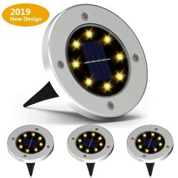 4 pieces - solar powered lamps - 8 LED - waterproof garden light