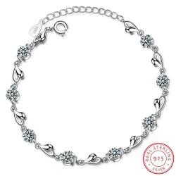 Armband met hartjes & zirkonia - 925 sterling zilver