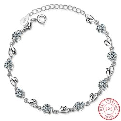 Bracelet with hearts & zirconia - 925 sterling silver