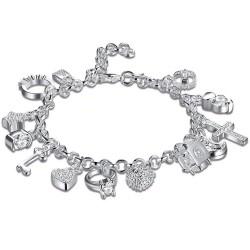 Elegante armband met 13 bedels - 925 sterling zilver