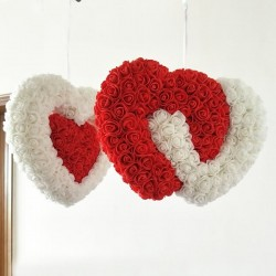 White & red heart - made of infinity roses - 30cm