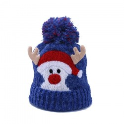 Warm winter kids hat with pom pom- Santa Claus - Reindeer horns