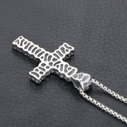 Vintage cross pendant - stainless steel necklace