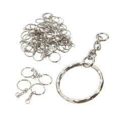 Silver blanc keyring with chain 55mm - 50 pcs