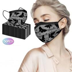 50 Stück - antibakterielle Einweg-Gesichts- / Mundmasken - 3-lagig - Spitzendesign