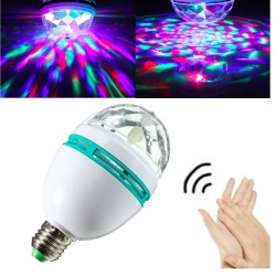 E27 rotating RGB LED stage light sound activation