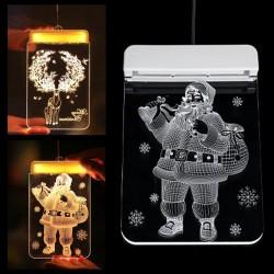 Kerst 3D decoratie voor deur / raam - LED licht - transparante plaat met zuignap