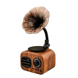 Vintage gramophone design - retro wood - portable - mini Bluetooth speaker - radio