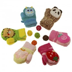 Kids winter mittens - animal design - with rope