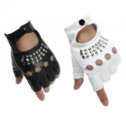 Leather gloves - half finger design - with rivets - unisex