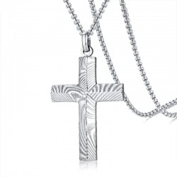 Necklace with cross - Damascus steel