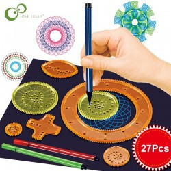 Spirograph drawing - interlocking gears wheels - painting / drawing accessories - educational toy - 22 pieces