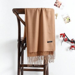 Large cashmere scarf with tassels