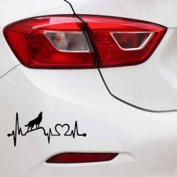 Fun howling wolf - heartbeat lifeline - car sticker