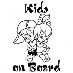 Kids on board - cute - cartoon - car sticker
