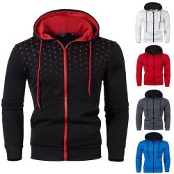 Warm hoodie with zipper - long sleeve - polka-dot print