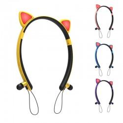 Bluetooth - draadloze koptelefoon - microfoon - in-ear koptelefoon - Led-lichtgevende kattenoren