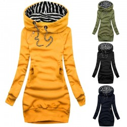 Long sleeve pullover with striped hood