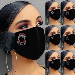 2 in 1 - gezichts / mondmasker met oorkappen - kerstprint