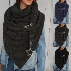 Multifunctionele sjaal met metalen ster - sjaal met knopen / stippen