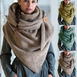 Multifunctionele dikke sjaal met knoopsluiting