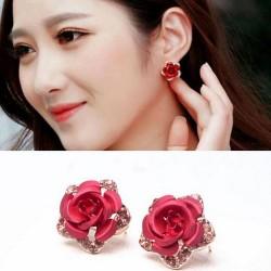 Kristallen en rode roos - kleine oorbellen