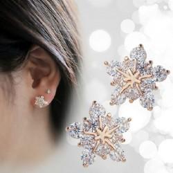 Kristallen sneeuwvlokken - roségouden oorbellen