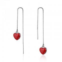 Lange oorbellen met rood hart