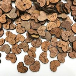 Mini wooden love hearts - decoration - 100 pieces