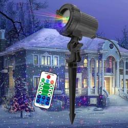 Bewegende statische rode / groene / blauwe stippen / sterren - Kerst laserlicht - projector - waterdicht