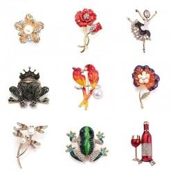 Lovebirds - dragonfly - frog - flower - brooches