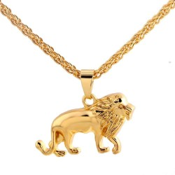 Fashionable necklace with lion - gold