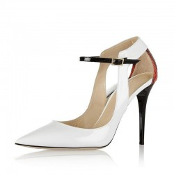 Elegant high heel pumps - white sandals with ankle strap - snake pattern