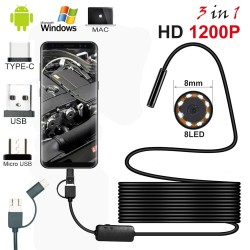 Mini endoscope camera - Android - PC - USB - HD 1200P - LED - semi-rigid cable