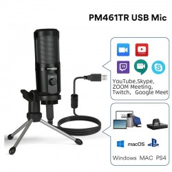 AU-PM461TR - USB microphone condenser - recording - online teaching - meetings - live streaming - gaming - with tripod stand