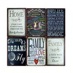Family Home Rules & Quotes - metal sign - wall poster