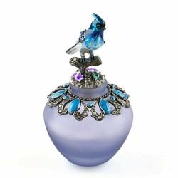 Vintage handmade glass perfume bottle - refillable - blue bird - 40ml