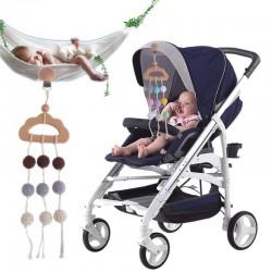 Baby bijtring - gehaakte kralen - kinderwagen / bed houten clip - hangend speelgoed
