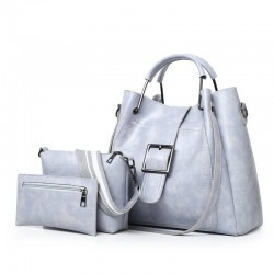 Elegant leather handbag - crossbody - small clutch bag - 3 pieces set